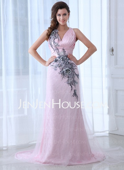 Evening Dresses - $159.49 - Sheath V-neck Chapel Train Satin Tulle Evening Dresses With Ruffle Lace Beading (017017399) http://jenjenhouse.com/Sheath-V-Neck-Chapel-Train-Satin-Tulle-Evening-Dresses-With-Ruffle-Lace-Beading-017017399-g17399