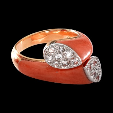 Cartier -- Coral and Diamond Ring. The inspiration for a ring a made for my grandma.