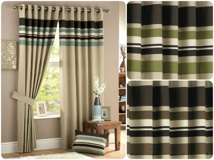 Harvard Lined Pair Ready Made Eyelet Curtains Horizontal Stripes Panel Beige New