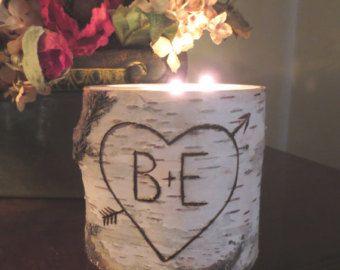 Personalized Birch Candle Holder  3 Tea Light  Wedding Centerpieces Home Decor  Bridal Shower Decor  Wedding