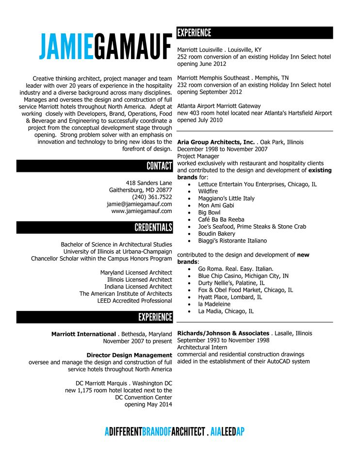 Modern 1 page resume Unique resume, Cv template and Resume - architectural resume examples