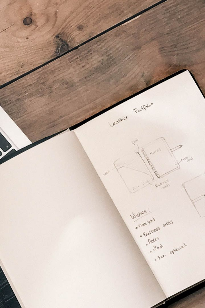 Design process of a leather padfolio - By Florine Leather & Style