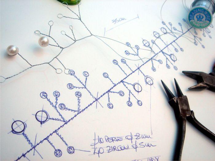 """The making of"" coroncina con zirconi e perle by Art & Chic Atelier."