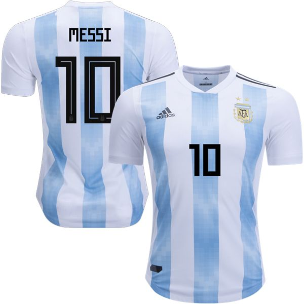 hot sale online ec625 8ed95 2018 Argentina World Cup Home Authentic Jersey Shirt 10 ...