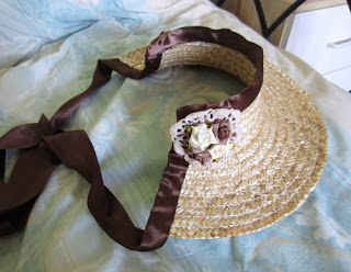Make your own 1/2 bonnet from a straw hat.