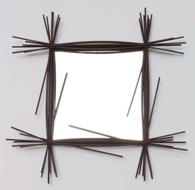 Colette Gueden; Enameled Metal and Glass Wall Mirror, c1950.