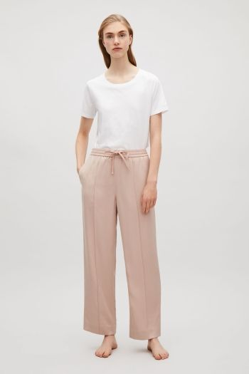 COS image 1 of Tailored drawstring trousers in Soft Pink