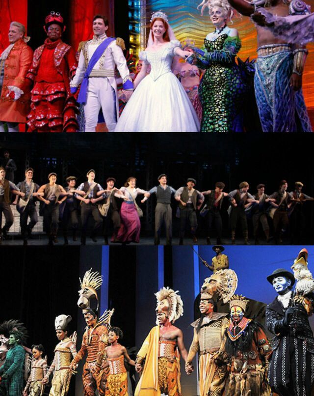 Disney on Broadway curtain calls (Little Mermaid, Newsies, and The Lion King)