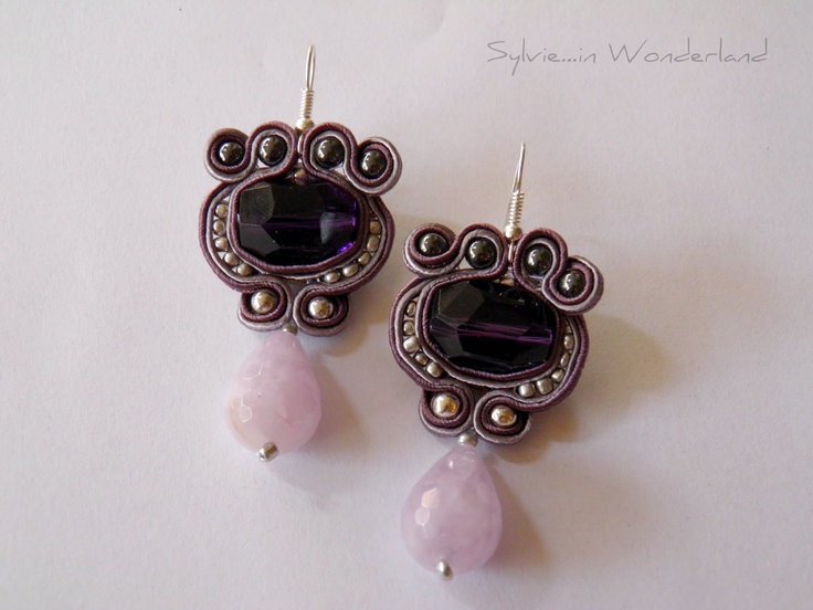 Purple rain earrings, totally handamade with soutache tecnique.