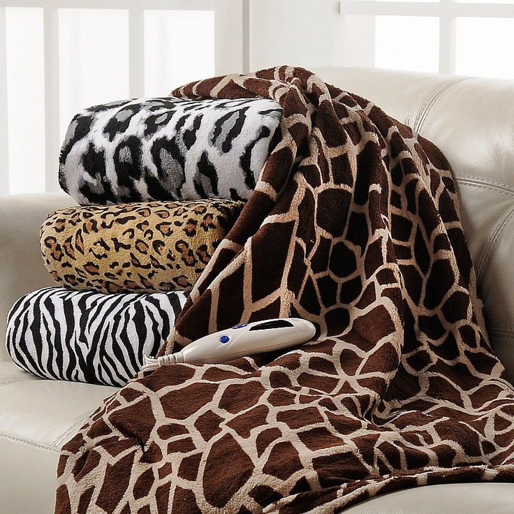 Heated Plush Throw Blanket Animal Print At Hsn Com