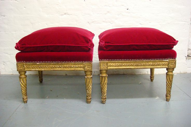 Silk velvet stool in for restoration after photo
