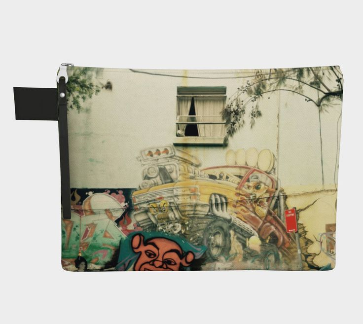 Yellow Car Graffiti Zip Top Pouch ipad cover or carry all