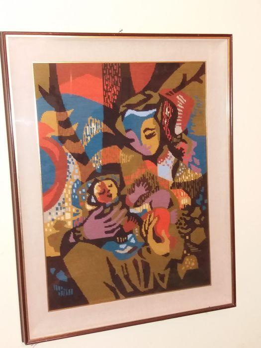 Tapijt - Milaan jaren 1980 - Madonna met kind  TapijtOnderwerp: Maagd Maria met kindcm. 695 x 885 cm inclusief framecm. 545 x 73 cm zonder frameStofIn uitstekende conditie  EUR 20.00  Meer informatie