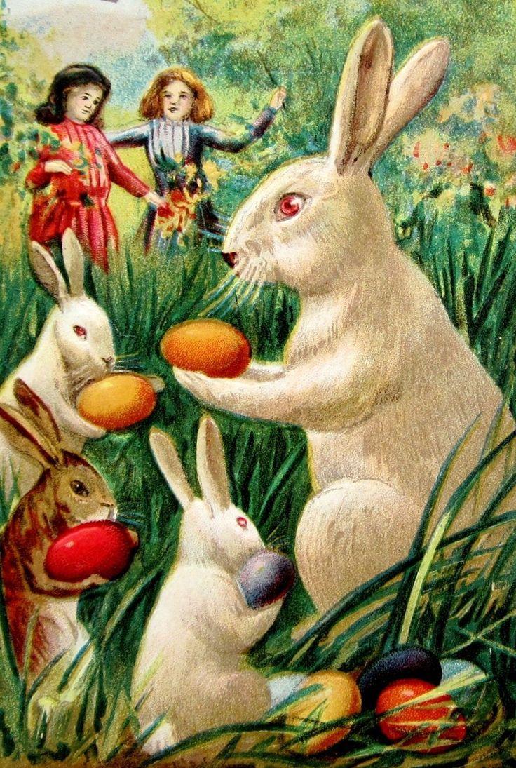 Открытка кролик пасхальный
