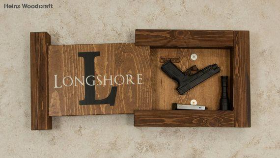 Solid Pine Concealed Gun Storage, Gun Storage, Hidden Gun Storage, Monogram Family Name Sign