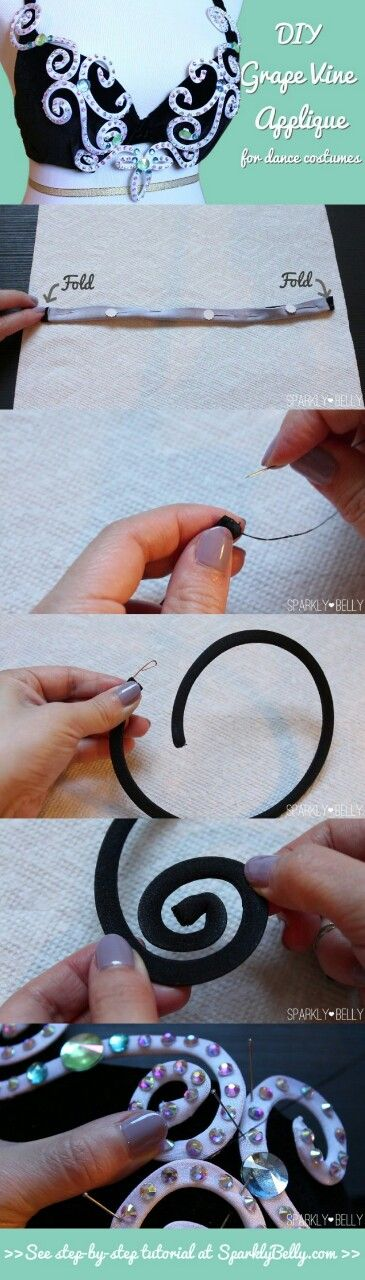 DIY Grape Vine Appliques – curly wire rhinestone appliques for dance costumesby Mao