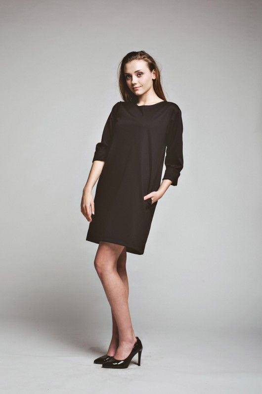 sukienki-Sukienka Short Friday Dress oversized  casual black tunic