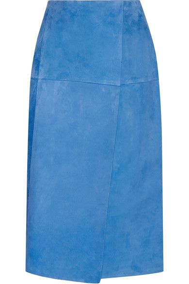 Protagonist - Wrap-effect Suede Skirt - Bright blue - US10