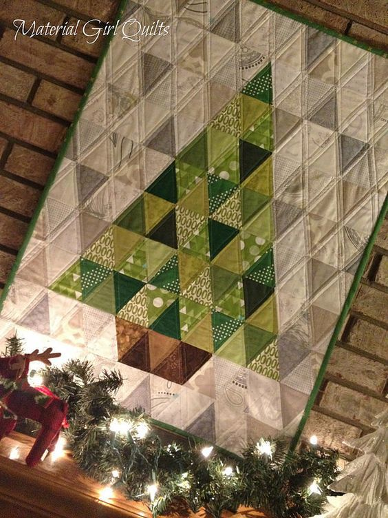 O Christmas tree quilt detail Amanda Castor of Material Girl Quilts triangle…