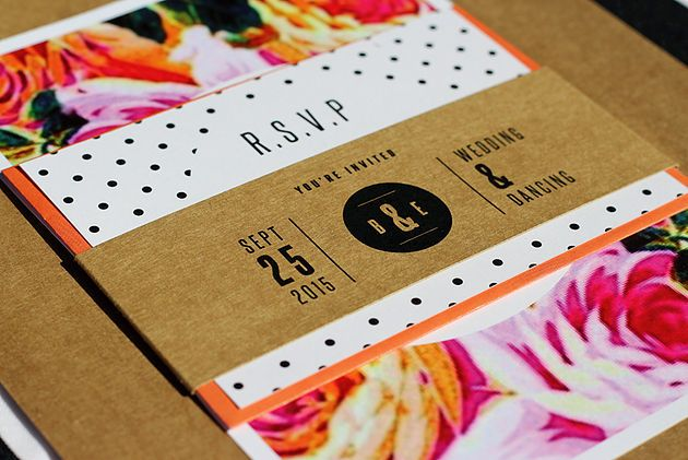 Leo & Ness | Wedding + Event Stationery | Bright floral mixed pattern Invitations - Invitation with RSVP card set