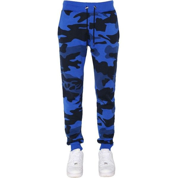 Hydrogen Men Military Camouflage Jogging Pants (£160) ❤ liked on Polyvore featuring men's fashion, men's clothing, men's activewear, men's activewear pants, bright blue, mens activewear pants and mens activewear