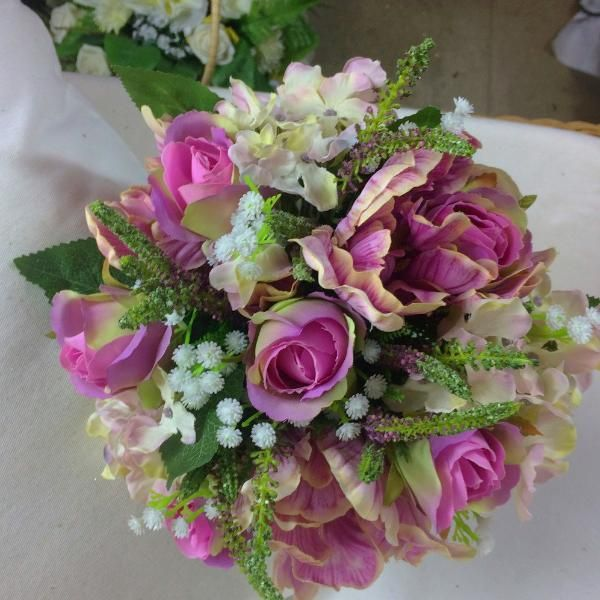 WEDDING BOUQUET of artificial silk tulips roses & hydrangea flowers