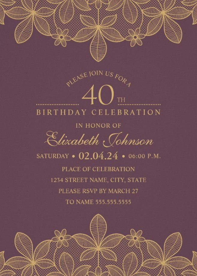 Golden Lace Wine Red 40th Birthday Invitations