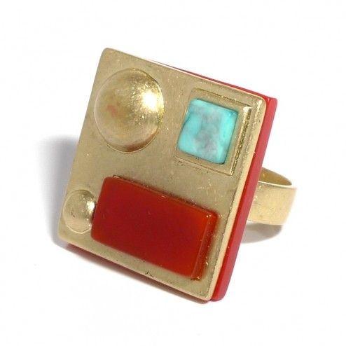 Lee Angel Gold Square Multi-Stone Cocktail Ring at aquaruby