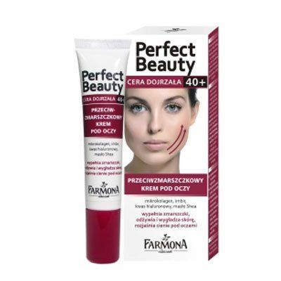 Farmona Perfect Beauty Anti-Wrinkle Under-Eye Cream 0.53 fl. Oz. by Farmona. $14.99. Farmona Perfect Beauty Anti-Wrinkle Under-Eye Cream 0.53 fl. Oz.. Rich cream formula was created based on the latest developments in biotechnology.. To use: Gently massage the cream into the skin around eyes.  Use in the morning and bedtime.. For mature skin 40+.  Anti-wrinkle under-eye cream of a light, delicate texture for care of skin over 40 years of age.. Thanks to a unique ...