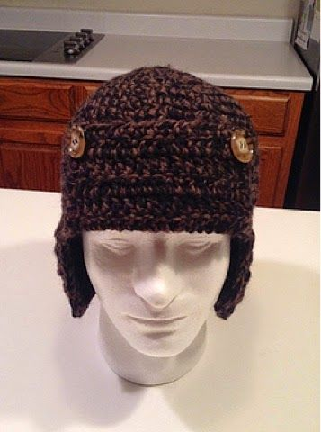 Kenzie's Kreations: Windless Wilderness Trapper Hat - free crochet pattern. Uses 2 strands worsted weight yarn together, teen/man sized.