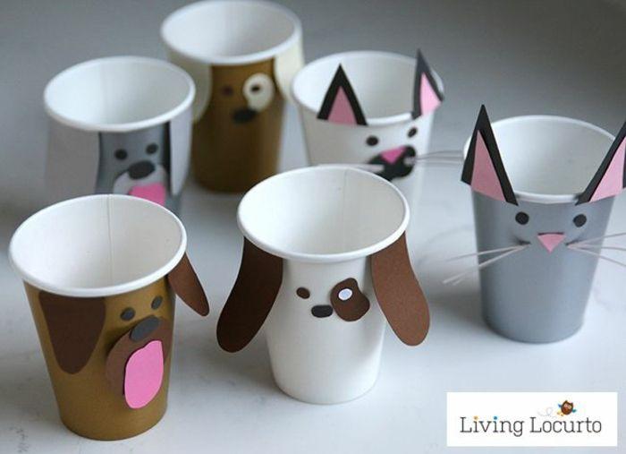 katzen und hunde basteln mit kindern aus pappbechern