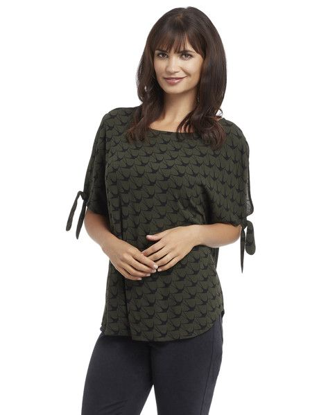 Whistle Tie Sleeve Bird Print Top - A contemporary style short-sleeve top with a round neck, cold shoulders and tie-up sleeves.