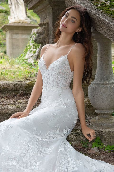 b3471efd1d51 Style 3853 Milena Lazaro bridal gown - Ivory petal embroidered tulle over  Chantilly lace bridal gown