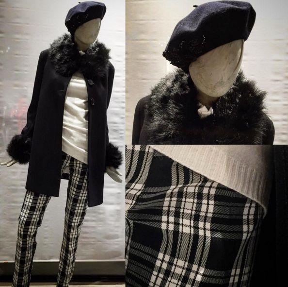 Outfit alla parigina, con basco nero, cappotto bordato di pelliccia e pantaloni a sigaretta in tartan scozzese. Look black and white. https://www.facebook.com/whitearzignano/ #whiteabbigliamento #modadonna #basco #cappotto #pantaloni #tartan #bonton #modafrancese #modaparigina #look #outfit #style #arzignano #white #abbigliamento
