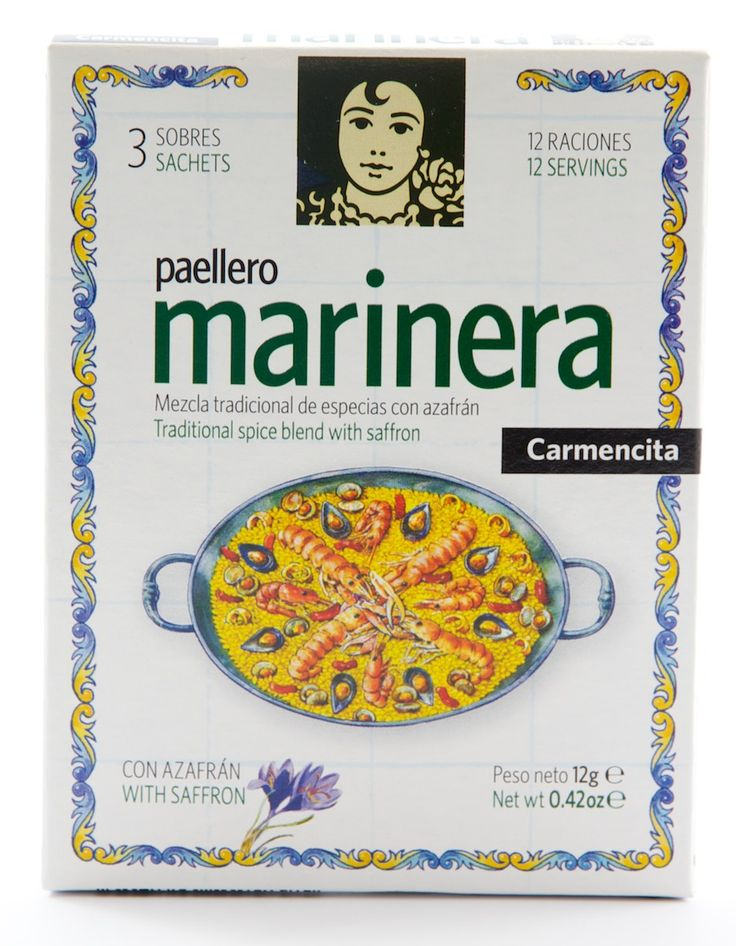 A traditional spice mix with saffron tailored specifically to the preparation of seafood paella. Just add to the stock before adding to the paella. If you need more help, Carmencita have been kind enough to include a recipe on every sachet.  Ingredients:   400g paella rice  Selection of seafood (4 langostines, 4 prawns, 100 g mussels, 100 g clams, 150 g chopped squid, 150 g chopped fresh tuna) 3 mature tomatoes  1 small red pepper  1 head of garlic  Sachet of seafood paella spice mix  10…
