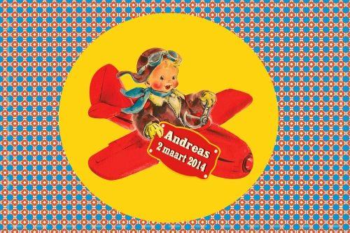 Geboortekaartje retro jongen - jongen in vliegtuig - Pimpelpluis  https://www.facebook.com/pages/Pimpelpluis/188675421305550?ref=hl (# vintage - retro - mannetje - ventje - vliegtuig - stoer - kleurrijk - origineel)
