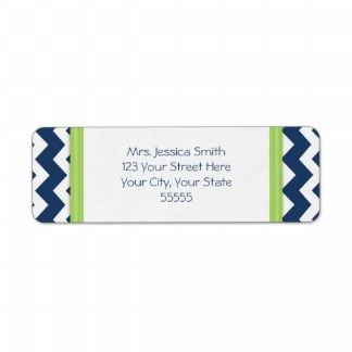 Blue Lime Chevrons Custom Return Address Labels