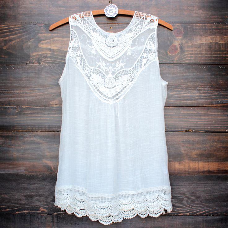 gypsy crochet lace gauzy sleeveless tank top