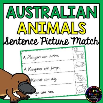 Australian Animal Sentence Picture Match.Product Description- This activity includes 12 sentence strips and corresponding Australian Animal pictures. There are 4 sentence strips on each page. The Australian Animals included are; Platypus, Kangaroo, Wombat, Dingo, Kookaburra, Turtle, Echidna, Frilled Neck Lizard, Tasmanian Devil, Koala, Quokka,  Bandicoot.Teacher Instructions-Students are to cut out the sentence strips and pictures along the dotted lines.
