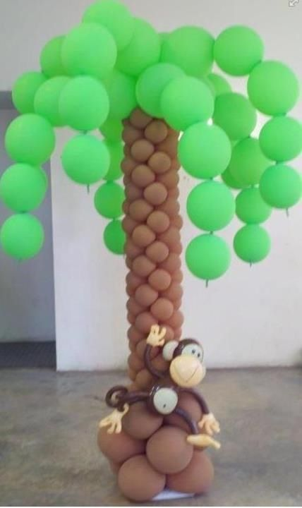 Monkey on a palm tree balloon decorations pinterest for Balloon decoration instructions