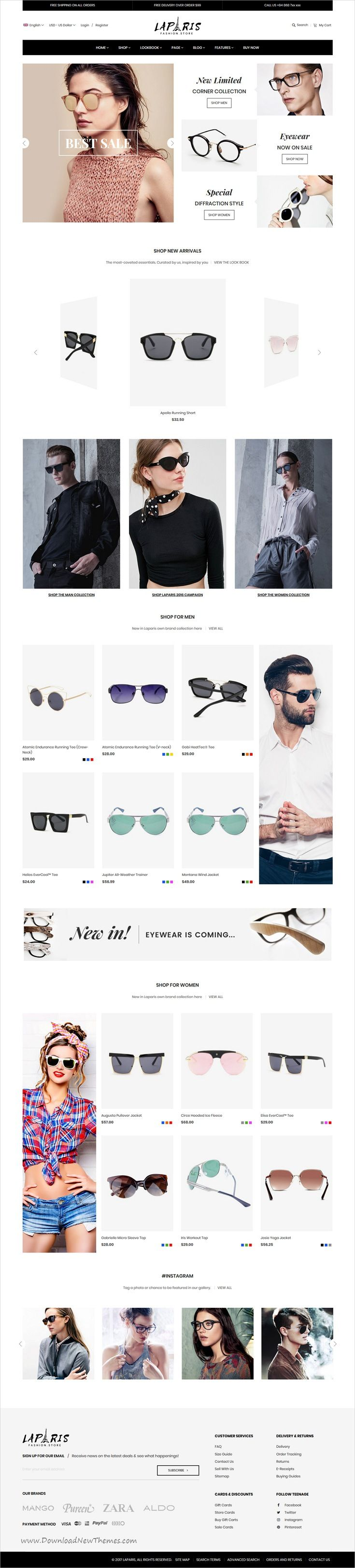 LaParis is clean, stylish and modern design responsive #Magento theme for #glasses shopping stunning #eCommerce website with 10+ niche homepage layouts download now..