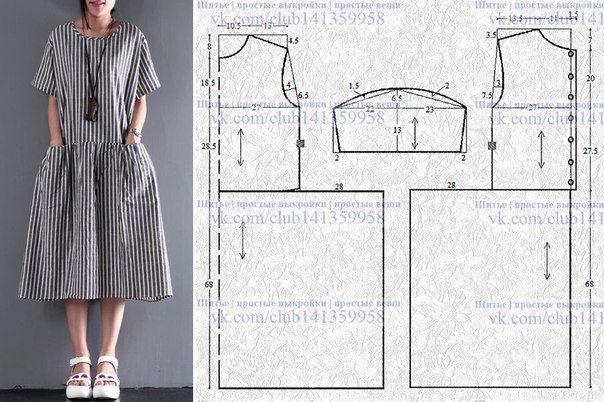 Платье со спущенным плечом, заниженной линией талии и присборенной юбкой. #простыевыкройки #простыевещи #шитье #платье #свободныйкрой #выкройка // Taika