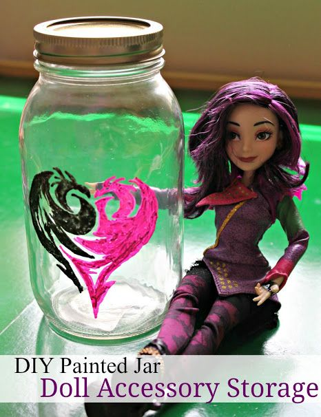 Disney Descendants DIY Painted Jar with Mal's icon. Great to store your Descendants doll accessories in! #Disney #VillainDescendants ad