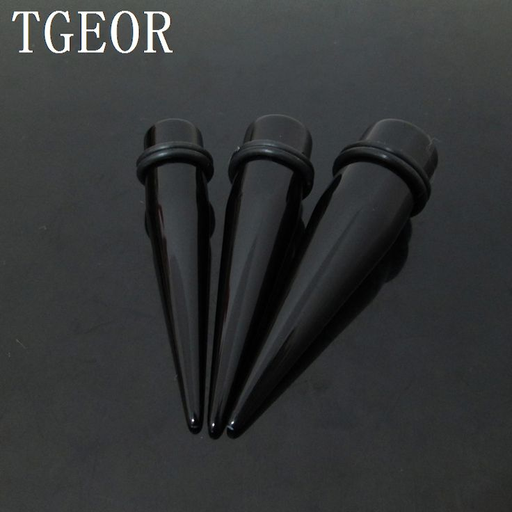 wholesale Fashion Charm 60pcs mixed 3 gauges big size ear expander solid color UV acrylic straight ear taper Hot