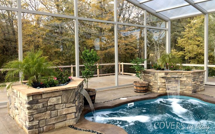 Our attached operable single peak swimming pool enclosure comes in 34 ft x 56 ft with 4 bays. Have a look at http://www.coversinplay.com/features.html#PoolCover #PoolEnclosure #PatioEnclosures #EndlessPool #Pool #GroundPool #SinglePeak