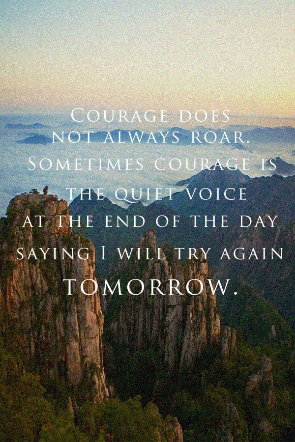 Inspirational Quotes // Courage doesn't always roar. Sometimes courage is the little voice at the end of the day that says I'll try again tomorrow. - Mary Anne Radmacher #DailyInspiration