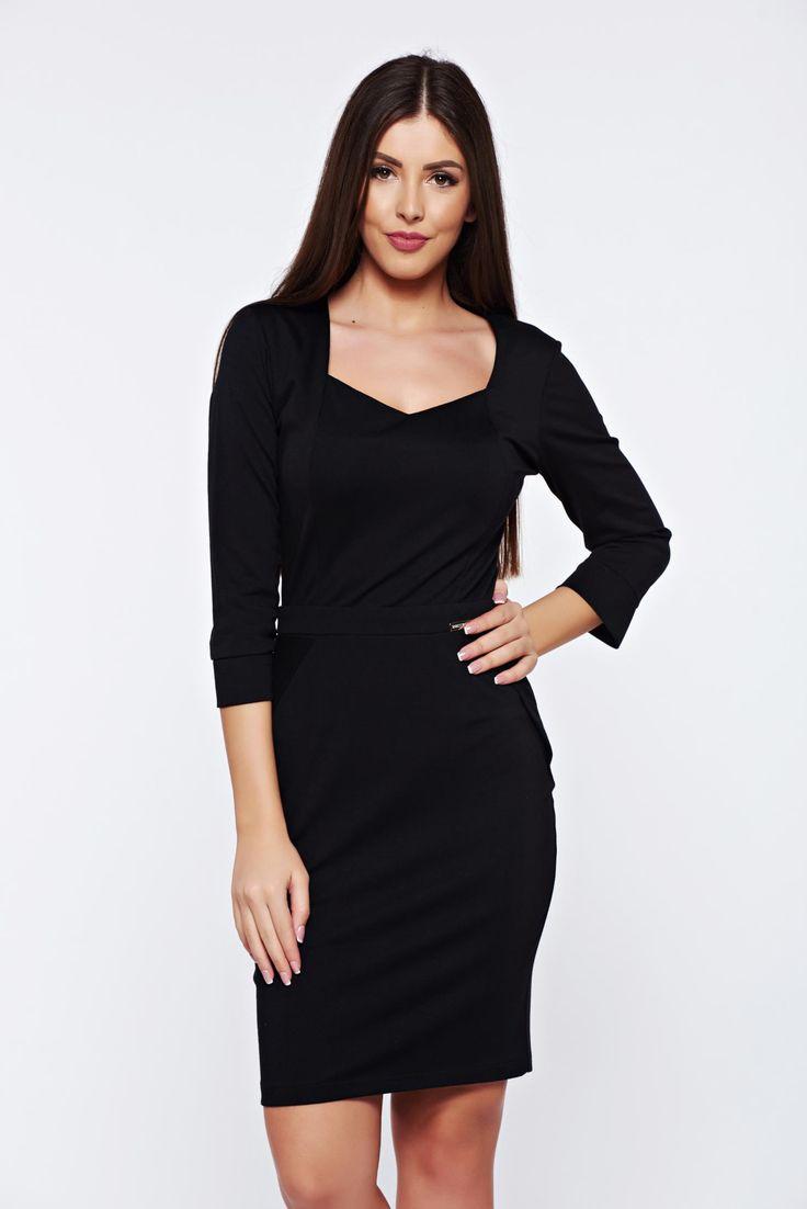"PrettyGirl black office pencil dress with v-neckline, back zipper fastening, 3/4 sleeves, ""V"" cleavage, slightly elastic fabric"
