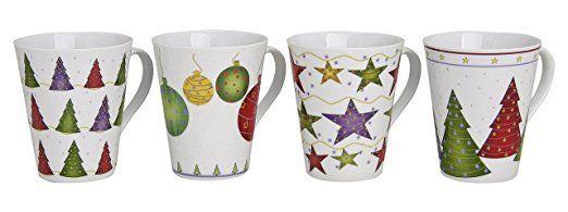 4er Set Weihnachtstassen 11cm, Ø 8,5cm, 300ml | Kaffeebecher, Glühweintassen mit Weihnachtsmotiven, Tassen für Weihnachten sind spülmaschinengeeignet