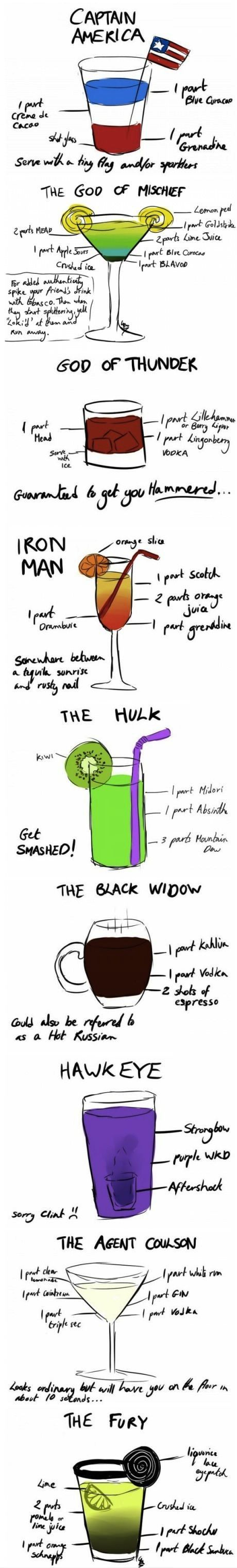 The Avengers mixed drinks. Someday, Ill have an adult Avengers themed party. And itll be awesome.Avengers Parties, Food, Avengers Cocktails, Avengers Drinks, Super Heroes, Drinks Recipe, Mixed Drinks, Superhero, The Avengers