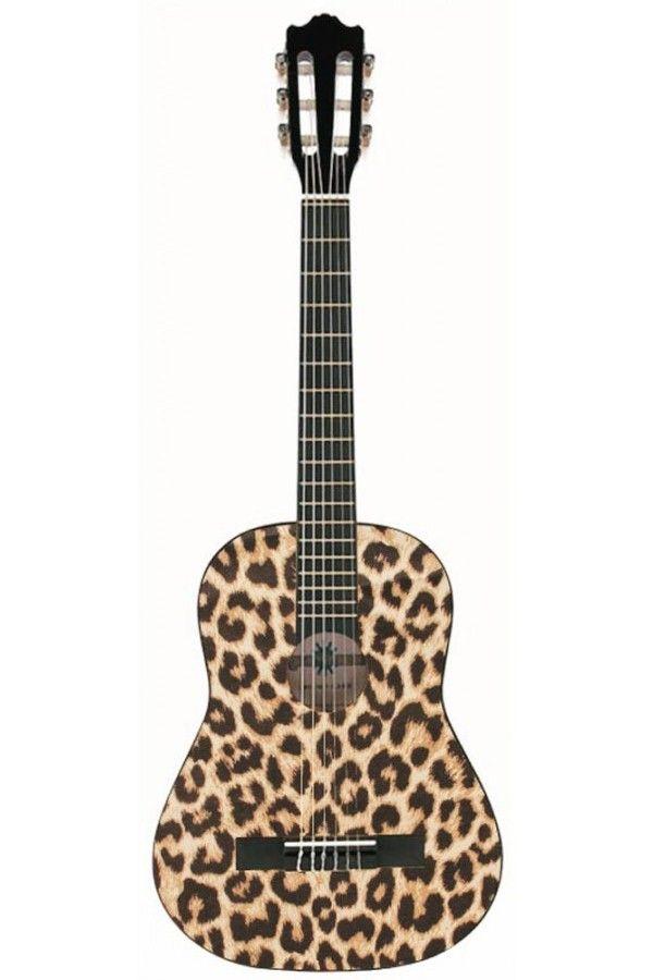 Leopard print acoustic guitar